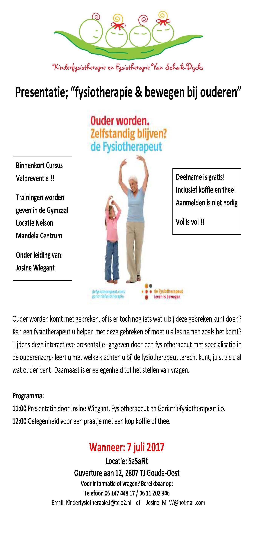 """Presentatie; """"fysiotherapie & bewegen bij ouderen"""""""